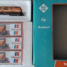 Comboios Escala: TREN COMSA, LOCOMOTORA Y 3 TOLVAS - ROCO. Lote 219556827