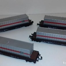 Trenes Escala: ROCO N 4 PLATAFORMAS CONTENEDORES -- L48-111 (CON COMPRA DE CINCO LOTES O MAS ENVÍO GRATIS). Lote 243629315