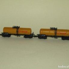 Trenes Escala: ANTIGUOS VAGONES CISTERNA 4 EJES SHELL EN ESCALA *N* 1/160 REF. 2364-A DE ROCO. Lote 245251285