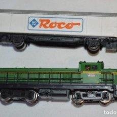 Trenes Escala: ESCALA N - LOCOMOTORA ROCO 23226 / RENFE 307 - 004 - 2 / LA VALENCIANA Y UN VAGÓN ¡MIRA FOTOS!. Lote 247981045