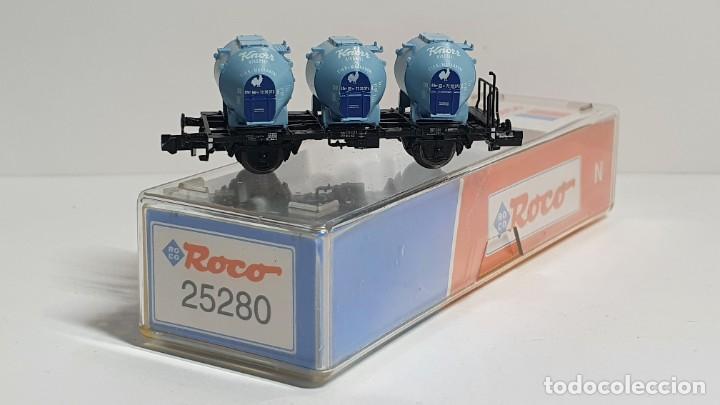 Trenes Escala: ROCO 25280, VAGÓN 3 DEPÓSITOS KNORR DE LA DB, ESCALA N - Foto 2 - 254928185
