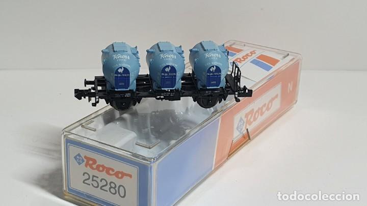 Trenes Escala: ROCO 25280, VAGÓN 3 DEPÓSITOS KNORR DE LA DB, ESCALA N (2) - Foto 2 - 254928840