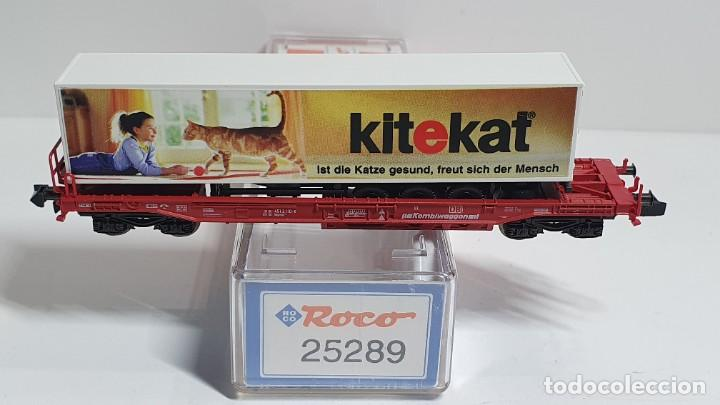 Trenes Escala: ROCO 25289, VAGÓN PLATAFORMA CON REMOLQUE CAMIÓN KITEKAT DE LA DB, ESCALA N - Foto 2 - 255001095