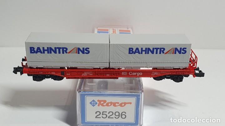Trenes Escala: ROCO 25296, VAGÓN PLATAFORMA CON CONTENEDORES BAHNTRANS DE LA DB, ESCALA N - Foto 2 - 255002030
