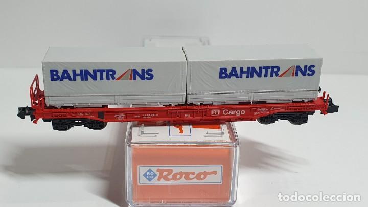 Trenes Escala: ROCO 25296, VAGÓN PLATAFORMA CON CONTENEDORES BAHNTRANS DE LA DB, ESCALA N - Foto 3 - 255002030