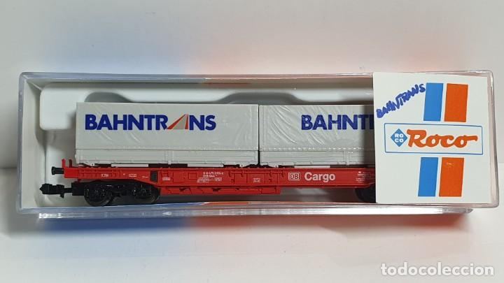 ROCO 25296, VAGÓN PLATAFORMA CON CONTENEDORES BAHNTRANS DE LA DB, ESCALA N (Juguetes - Trenes a Escala N - Roco N)