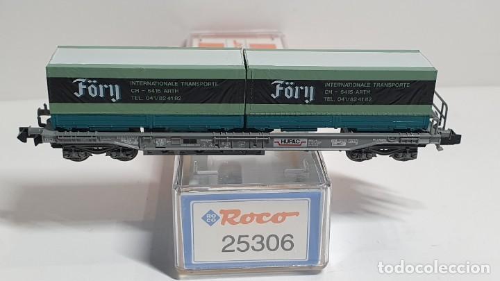 Trenes Escala: ROCO 25306, VAGÓN PLATAFORMA CON CONTENEDORES FÖRY DE LA SBB HUPAC, ESCALA N - Foto 2 - 255002965