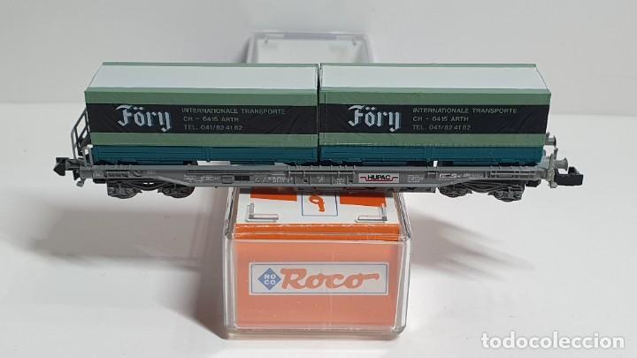 Trenes Escala: ROCO 25306, VAGÓN PLATAFORMA CON CONTENEDORES FÖRY DE LA SBB HUPAC, ESCALA N - Foto 3 - 255002965