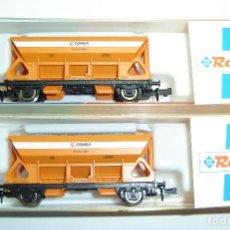Trenes Escala: PAREJA DE VAGONES TOLVA COMSA ROCO ESCALA N. Lote 261794195