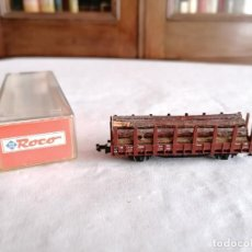 Trenes Escala: ROCO N VAGÓN CARGA DE TRONCOS DE MADERA DB NUEVO OVP. Lote 264288572