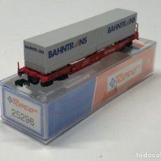 Trenes Escala: ROCO N 25296- VAGÓN PLATAFORMA BOGIES CON 2 CONTENEDORES BAHNTRANS DB. Lote 271418968