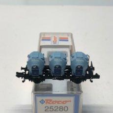 Trenes Escala: ROCO N 25280- VAGÓN PLATAFORMA CON 3 DEPÓSITOS KNORR DB. Lote 271420243