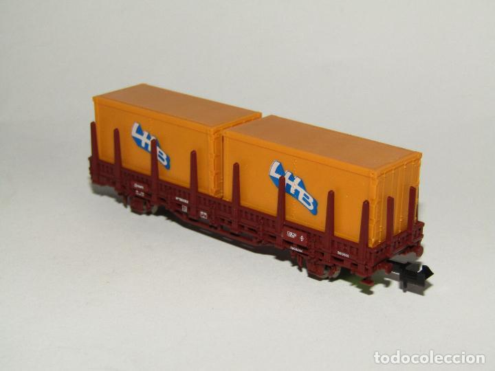 Trenes Escala: Vagón Teleros con Contenedores LHB en Escala *N* de ROCO - Foto 2 - 273468233