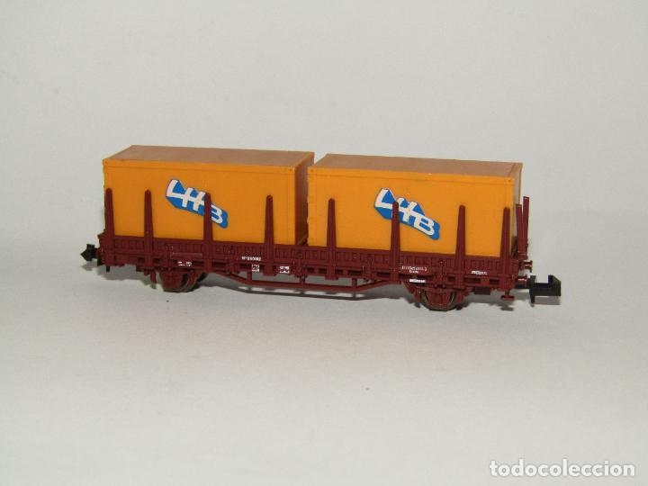 Trenes Escala: Vagón Teleros con Contenedores LHB en Escala *N* de ROCO - Foto 5 - 273468233
