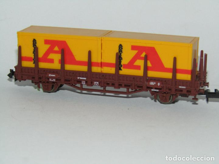 Trenes Escala: Vagón Teleros con Contenedores ADRIATICA en Escala *N* de ROCO - Foto 2 - 273469078