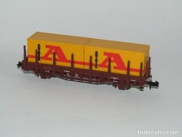Trenes Escala: Vagón Teleros con Contenedores ADRIATICA en Escala *N* de ROCO - Foto 4 - 273469078