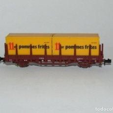 Trenes Escala: VAGÓN TELEROS CON CONTENEDORES 11ER POMMES FRITES EN ESCALA *N* DE ROCO. Lote 273469558