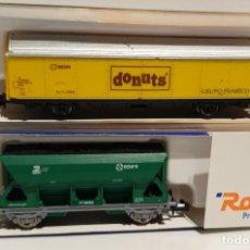Trenes Escala: 2 VAGONES ROCO 25741 - 25490 SE DESCONOCE SI FALTA ALGUNA PIEZA, NO PROBADO DONUTS CON RAJITA. Lote 296902343