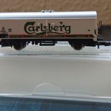 Trenes Escala: MARKLIN, VAGÓN DE CERVEZA CARLSBERG, ORIGINAL, EN CAJA, ESCALA Z. Lote 171995707