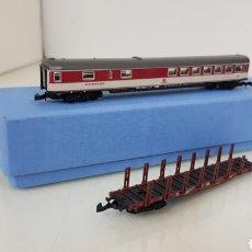 Trenes Escala: MARKLIN MINI CLUB ESCALA Z LOTE DE 2 VAGONES, PASAJEROS Y CARGA ALEMANES. Lote 190934640