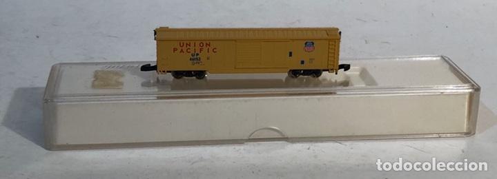 Trenes Escala: MARKLIN MINI CLUB VAGÓN MERCANCÍAS CERRADO USA BOGIES UNION PACIFIC 8641 ESCALA Z. NUEVO - Foto 2 - 193862806