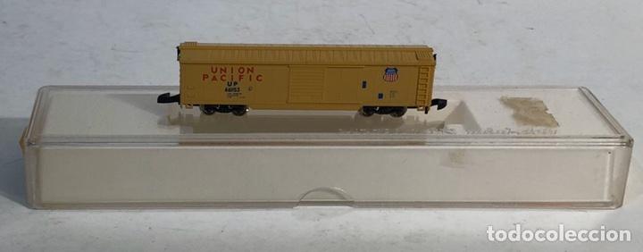 Trenes Escala: MARKLIN MINI CLUB VAGÓN MERCANCÍAS CERRADO USA BOGIES UNION PACIFIC 8641 ESCALA Z. NUEVO - Foto 4 - 193862806