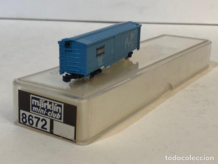 Trenes Escala: MARKLIN MINI CLUB VAGÓN MERCANCÍAS CERRADO USA BOGIES FRISCO 8672 ESCALA Z. NUEVO - Foto 3 - 193957243