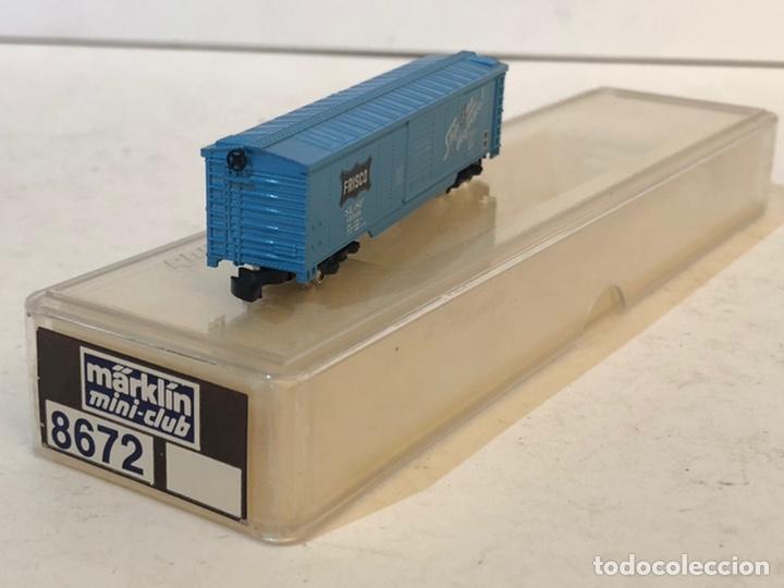 Trenes Escala: MARKLIN MINI CLUB VAGÓN MERCANCÍAS CERRADO USA BOGIES FRISCO 8672 ESCALA Z. NUEVO - Foto 3 - 193957283