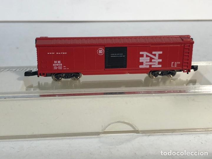 Trenes Escala: MARKLIN MINI CLUB VAGÓN MERCANCÍAS CERRADO USA BOGIES NEW HAVEN 8673 ESCALA Z. NUEVO - Foto 2 - 193957593