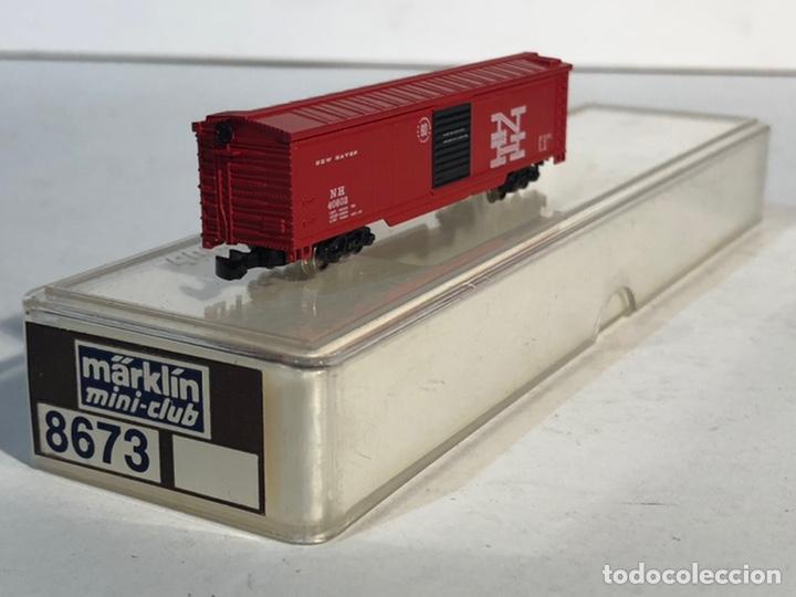 Trenes Escala: MARKLIN MINI CLUB VAGÓN MERCANCÍAS CERRADO USA BOGIES NEW HAVEN 8673 ESCALA Z. NUEVO - Foto 3 - 193957593