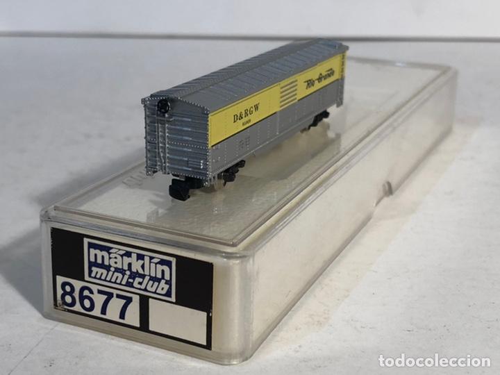 Trenes Escala: MARKLIN MINI CLUB VAGÓN MERCANCÍAS CERRADO USA BOGIES RIO GRANDE 8677 ESCALA Z. NUEVO - Foto 3 - 194372498