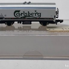 Trenes Escala: MARKLIN MINI CLUB VAGÓN MERCANCÍAS FRIGORÍFICO CERVEZA CARLSBERG 8608 ESCLA Z. NUEVO. Lote 212327927