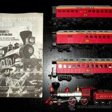 Trenes Escala: ANTIGUO TREN COMPLETO BACHMANN HO - THE GREAT IRON HORSE TRAIN ROBBERY - LOCOMOTORA JUPITER Y TRES V. Lote 26605640
