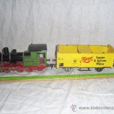 Trenes Escala: MAQUINA DE TREN Y VAGÓN. FABRICADO POR MARKLIN. . Lote 27986813