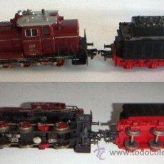 Trenes Escala: 3 LOCOMOTORAS MARCA FLEISCHMANN CON VAGONES Y VIAS AÑO 1964. Lote 29014771