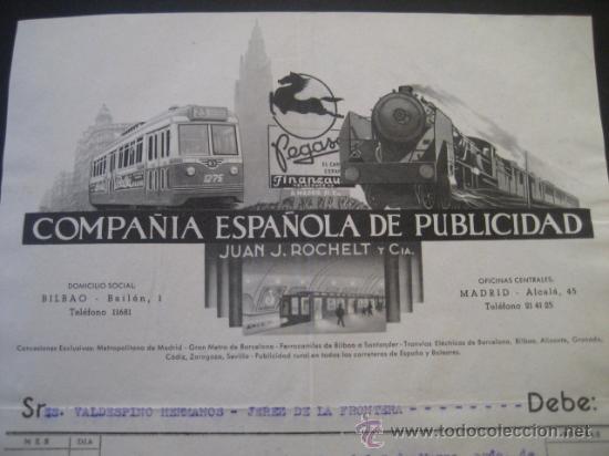 FACTURA TRANVIAS GRANADA Y SEVILLA, METROPOLITANO MADRID, TROLEBUS CADIZ 1956. VALDESPINO JEREZ (Juguetes - Trenes - Varios)