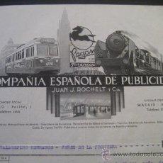 Trenes Escala: FACTURA TRANVIAS GRANADA Y SEVILLA, METROPOLITANO MADRID, TROLEBUS CADIZ 1956. VALDESPINO JEREZ. Lote 35358290