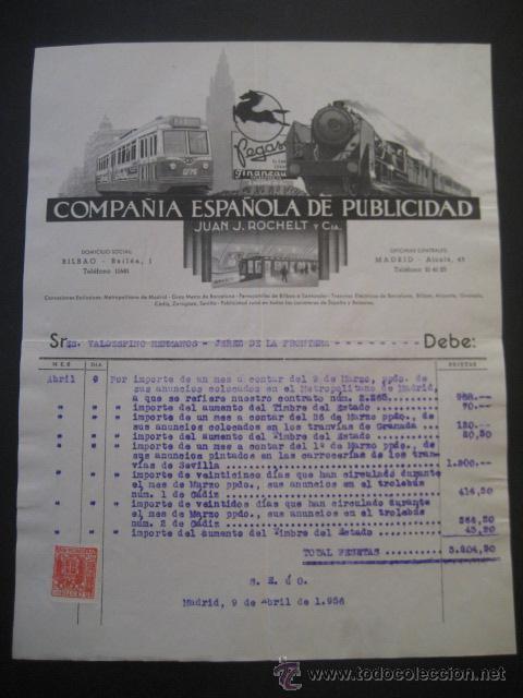 Trenes Escala: FACTURA TRANVIAS GRANADA y SEVILLA, METROPOLITANO MADRID, TROLEBUS CADIZ 1956. VALDESPINO JEREZ - Foto 2 - 35358290