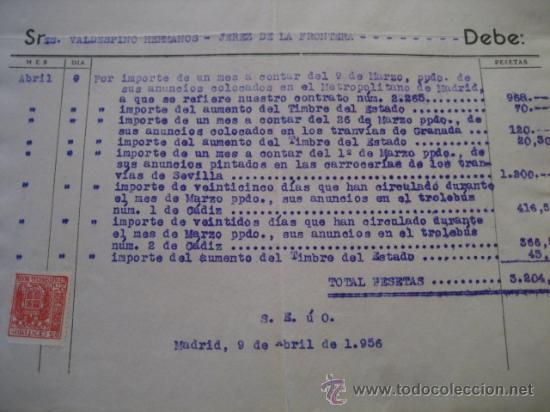 Trenes Escala: FACTURA TRANVIAS GRANADA y SEVILLA, METROPOLITANO MADRID, TROLEBUS CADIZ 1956. VALDESPINO JEREZ - Foto 3 - 35358290