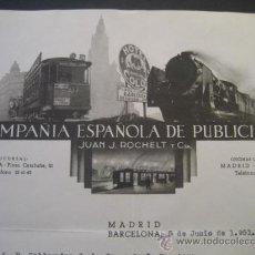 Trenes Escala: FACTURA TRANVIAS BARCELONA 1951. VALDESPINO JEREZ CADIZ. HOTEL COLON, TRANVIA, TREN.. Lote 35358371