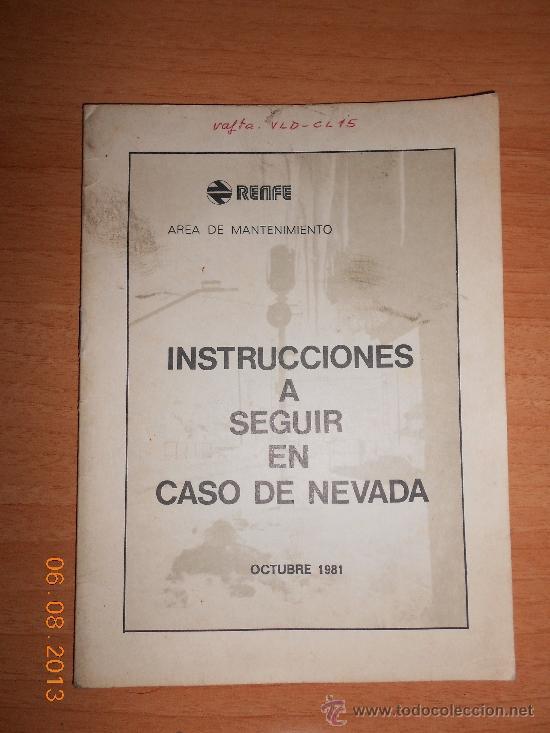 INSTRUCCIONES PARA CASO DE NEVADAS (Juguetes - Trenes Escala H0 - Otros Trenes Escala H0)