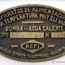 Trenes Escala: PLACA FERROCARRIL. BOMBA DE AGUA CALIENTE. OMNIUM IBÉRICO INDUSTRIAL. MADRID.. Lote 50714621