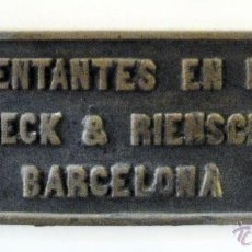 Trenes Escala: PLACA FERROCARRIL. RECH&RIENCH. BARCELONA. Lote 39427137