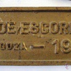 Trenes Escala: PLACA FERROCARRIL. CARDE Y ESCORIAZA. ZARAGOZA 1909. Lote 39427138