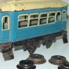 Trenes Escala: ANTIGUO LOTE DE 3 VAGONES DE TREN ESCALA 0 DE PASAJEROS DE RICO - MIDEN 16 CMS. APROXIMADAMENTE CADA. Lote 38239465
