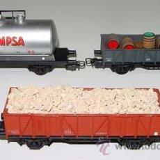 Trenes Escala: TRES ANTIGUOS VAGONES DE MERCANCIAS ELECTROTREN - ESCALA H0.. Lote 38239498