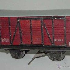 Trenes Escala: ANTIGUO VAGON DE CARGA DE MARCA MANAMO ESCALA 0 - MIDE 16,5 CMS. DE LONGITUD . TAL COMO SE VE EN LAS. Lote 38259765