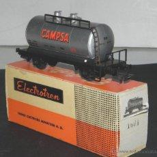 Trenes Escala: ANTIGUO VAGON VAGÓN CISTERNA CAMPSA DE ELECTROTREN, ESCALA HO, CON SU CAJA ORIGINAL. REF. 1601, NUEV. Lote 38281336