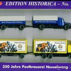 Trenes Escala: WIKING / DEUTSCHE POST MUSEUM - SET EDITION HISTORICA 1 / 2000 - CAMION CERVEZA AUTOMOVIL. Lote 43505516