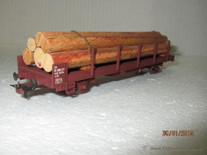 Trenes Escala: Vagón Plataforma Transporte Troncos de Cia. Suiza SBB-CFF Escala *H0* de METROPOLITAN SWITZERLAND - Foto 4 - 47496227